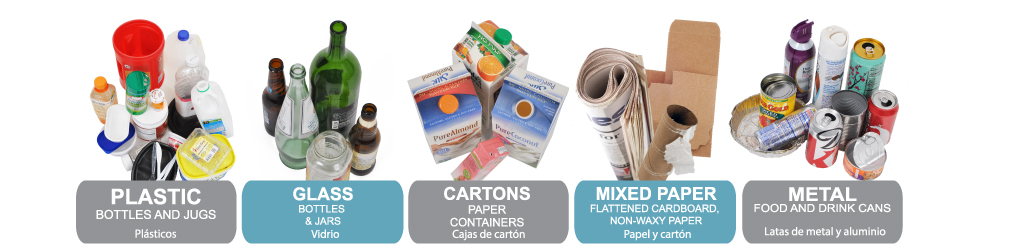 What you can recycle: Plastic, Glass, Cartons, Mixed Paper, Metal