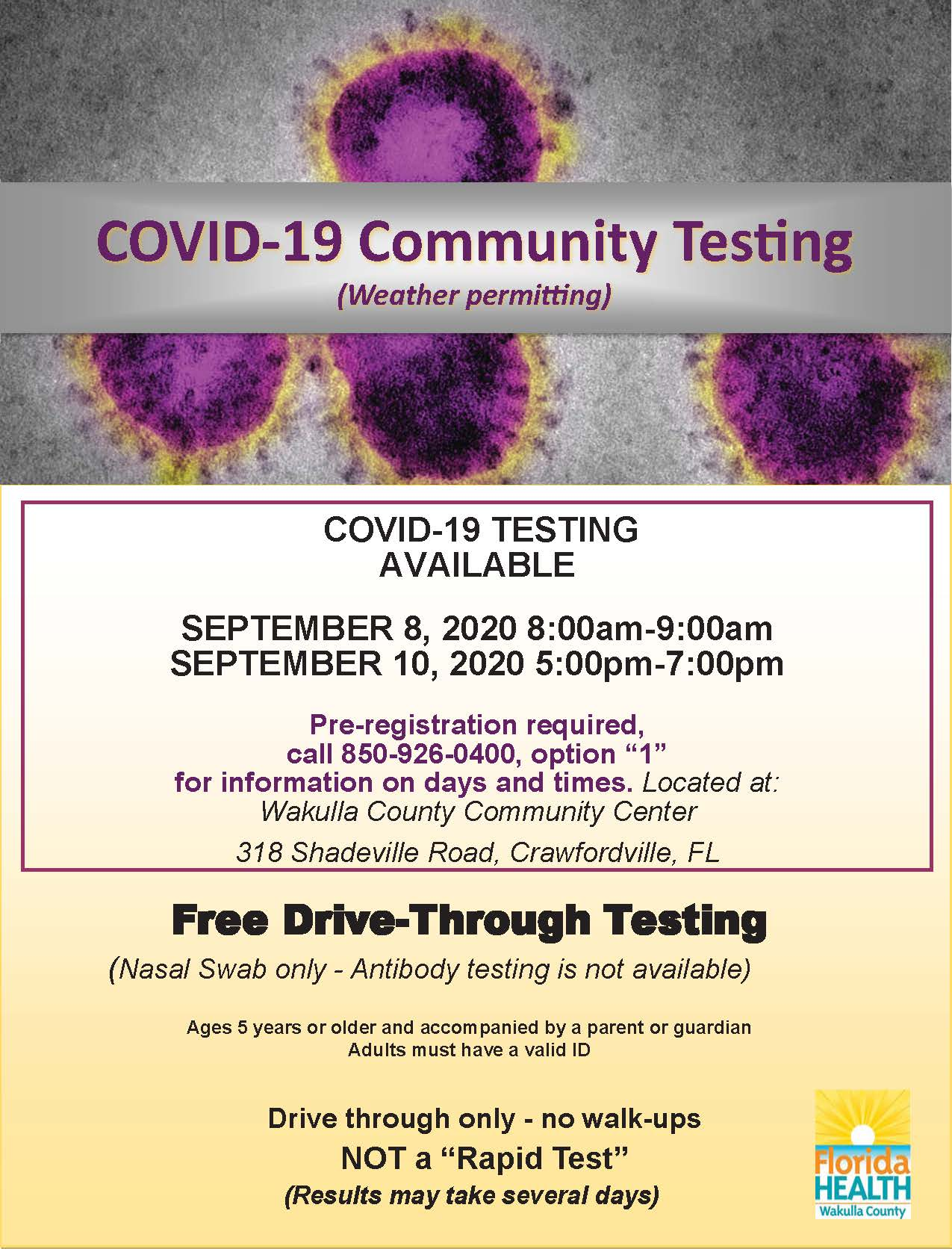 Wakulla Testing Flyer_Community Center_9.4.20
