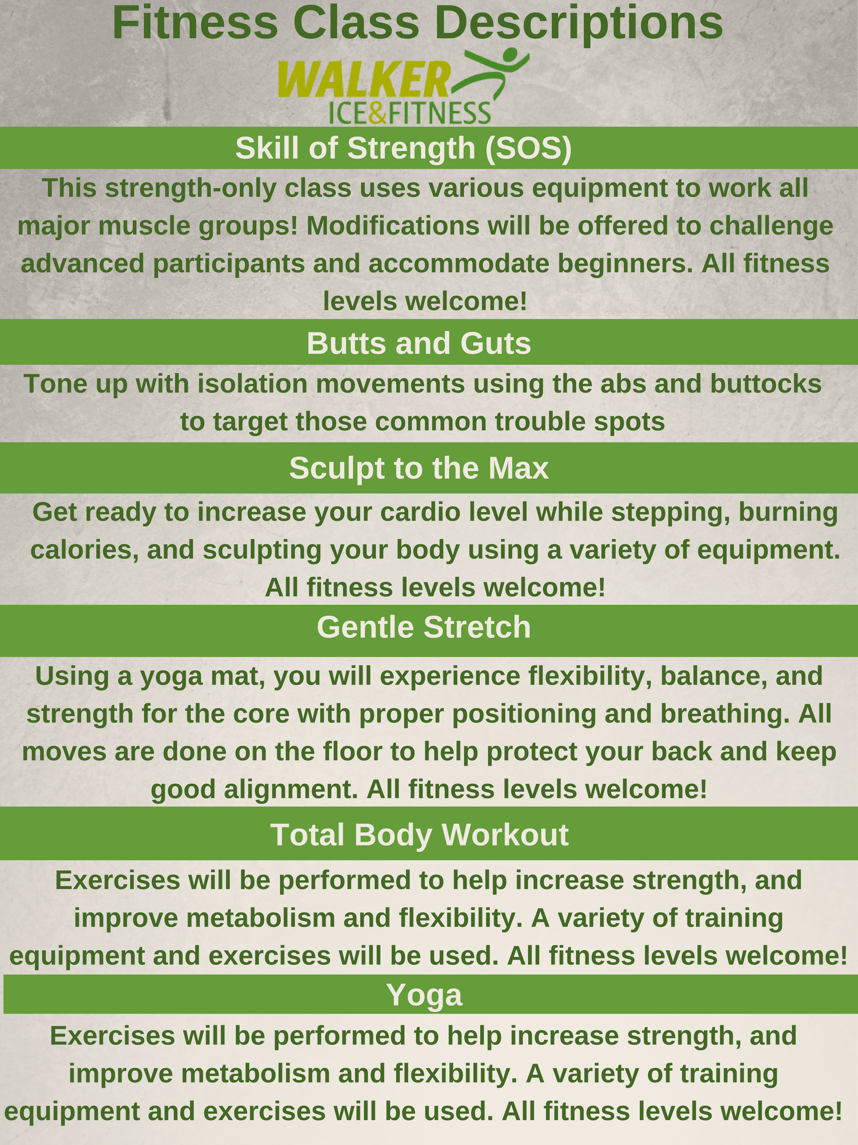 092818 - Fitness class descriptions - updated for fall winter
